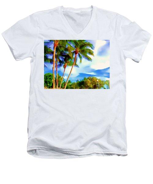 Miami Maurice Gibb Memorial Park Men's V-Neck T-Shirt by Patrice Torrillo