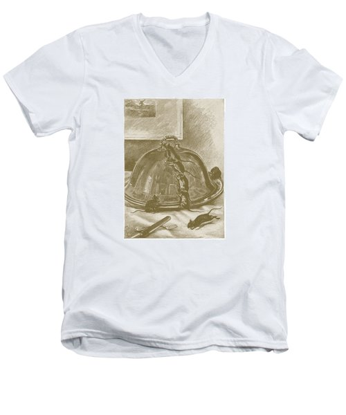 Men's V-Neck T-Shirt featuring the drawing Mice Have It Covered by David Davies