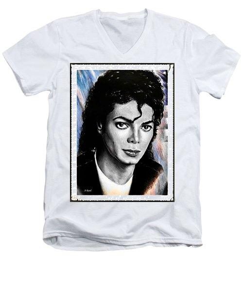Michael Jackson Stamp Design Men's V-Neck T-Shirt