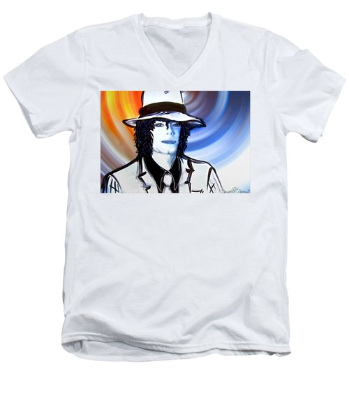 Michael Jackson White Fedora Alcohol Inks Men's V-Neck T-Shirt