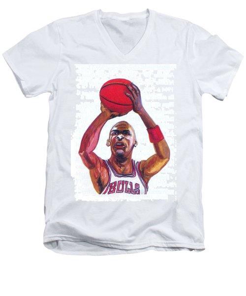 Men's V-Neck T-Shirt featuring the painting Michael Jordan by Emmanuel Baliyanga