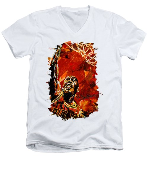 Michael Jordan Men's V-Neck T-Shirt by Maria Arango