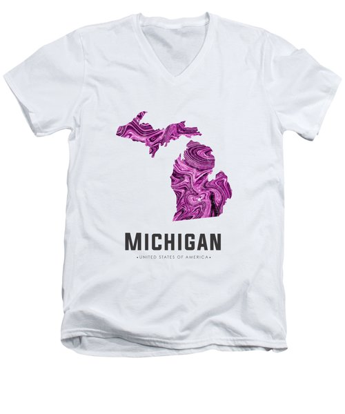 Michigan Map Art Abstract In Purple Men's V-Neck T-Shirt
