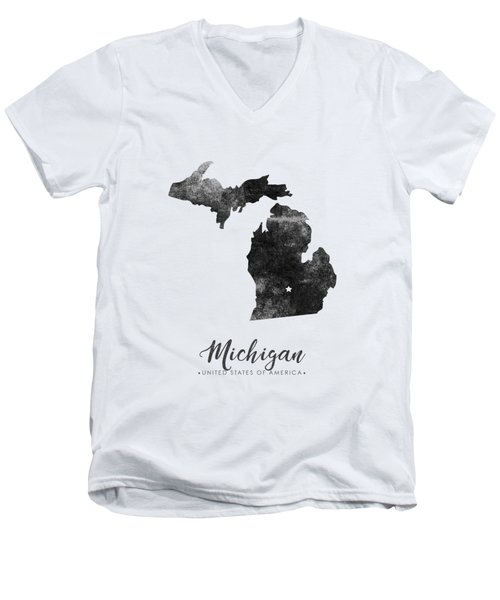 Michigan State Map Art - Grunge Silhouette Men's V-Neck T-Shirt