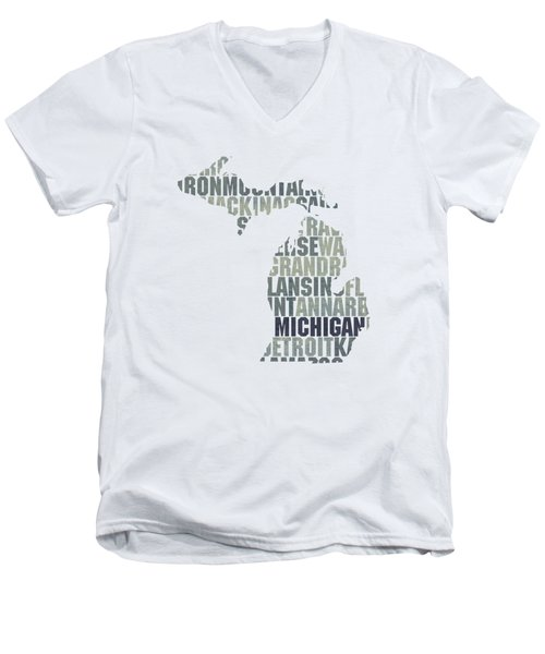 Michigan State Outline Word Map Men's V-Neck T-Shirt by Design Turnpike