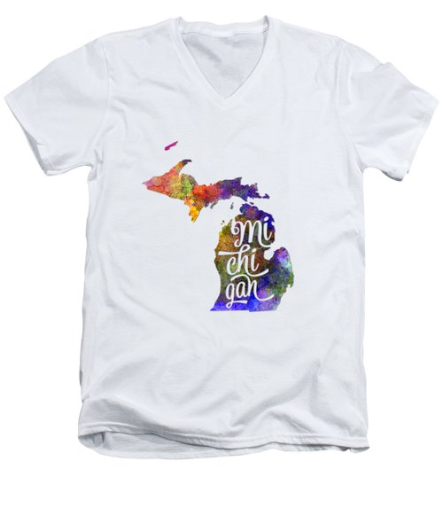 Michigan Us State In Watercolor Text Cut Out Men's V-Neck T-Shirt by Pablo Romero