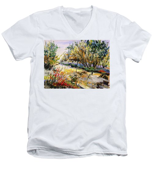Men's V-Neck T-Shirt featuring the painting Mid-morning Light by John Williams