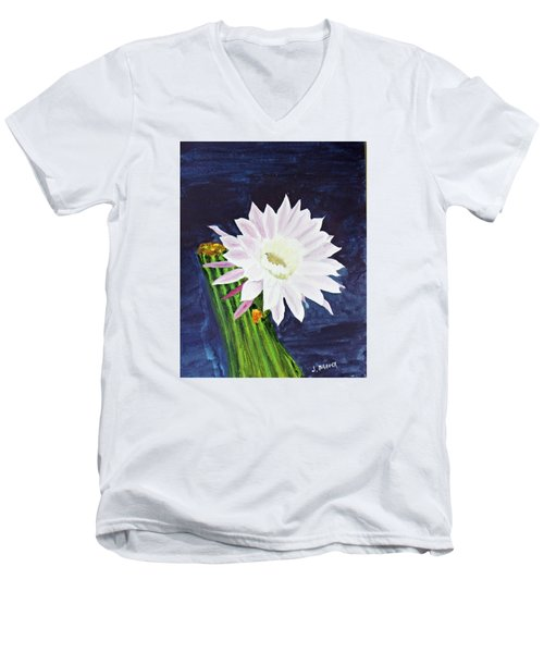 Men's V-Neck T-Shirt featuring the painting Midnight Blossom by Jack G  Brauer