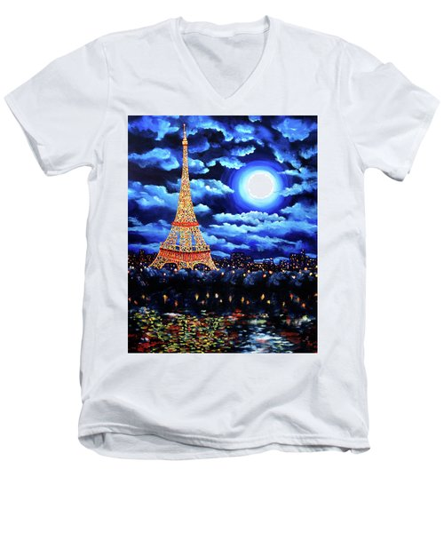 Midnight In Paris Men's V-Neck T-Shirt by Laura Iverson