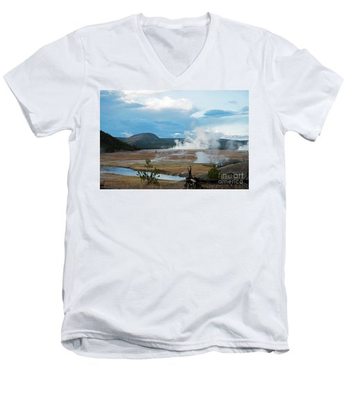 Midway Geyser Area Men's V-Neck T-Shirt by Cindy Murphy - NightVisions