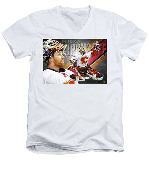 Men's V-Neck T-Shirt featuring the photograph Miikka Kiprusoff by Don Olea