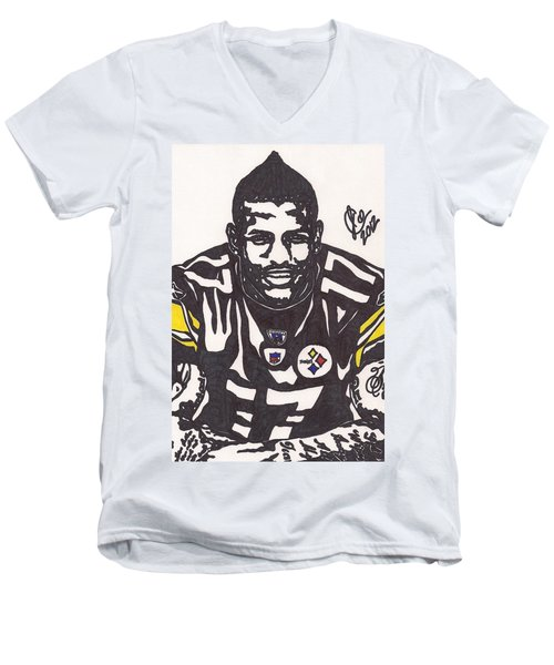 Men's V-Neck T-Shirt featuring the drawing Mike Wallace 1 by Jeremiah Colley