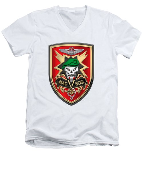 Military Assistance Command, Vietnam - Studies And Observations Group Patch Over White Leather Men's V-Neck T-Shirt by Serge Averbukh