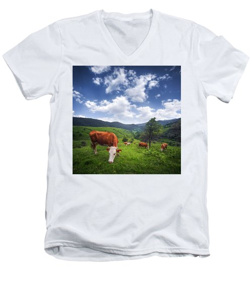Men's V-Neck T-Shirt featuring the photograph Milka by Bess Hamiti