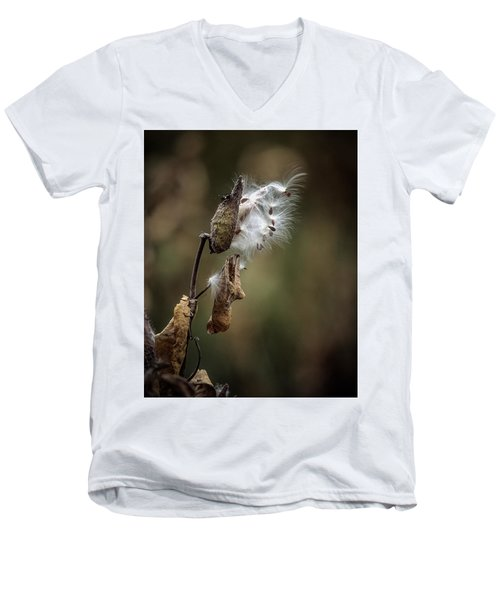 Milkweed Plant Dried And Blowing In The Wind Men's V-Neck T-Shirt