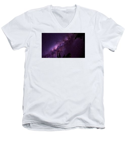 Men's V-Neck T-Shirt featuring the photograph Milky Way Over Mission Beach Narrow by Avian Resources