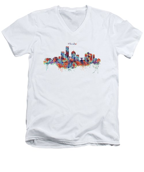 Men's V-Neck T-Shirt featuring the mixed media Milwaukee Watercolor Skyline by Marian Voicu
