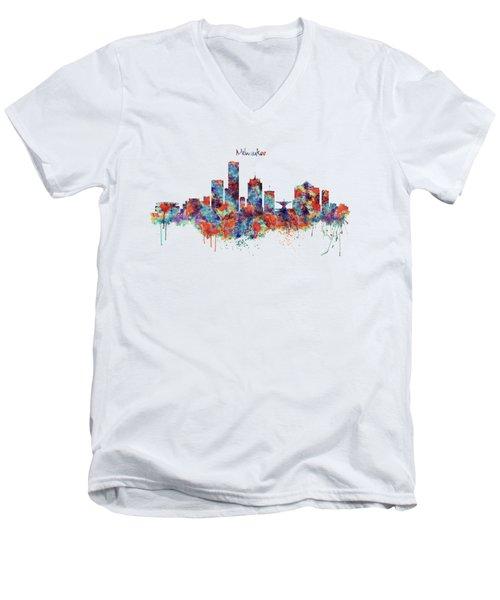Milwaukee Watercolor Skyline Men's V-Neck T-Shirt