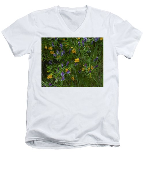 Men's V-Neck T-Shirt featuring the photograph Mimulus And Vetch by Doug Herr