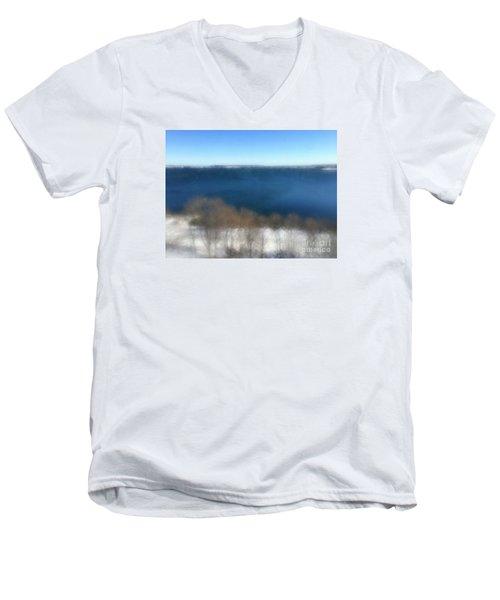 Minimalist Soft Focus Seascape Men's V-Neck T-Shirt by Patricia E Sundik