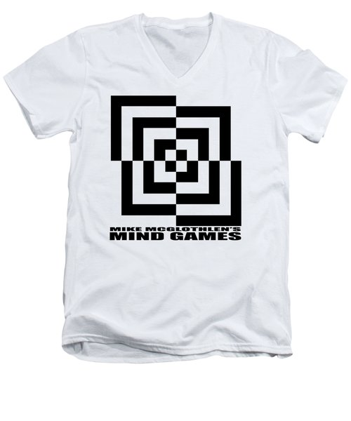 Men's V-Neck T-Shirt featuring the drawing Mind Games 10se by Mike McGlothlen
