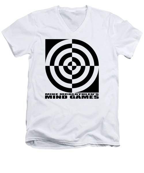 Men's V-Neck T-Shirt featuring the drawing Mind Games 1se by Mike McGlothlen