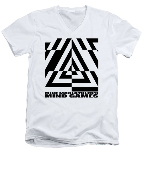 Men's V-Neck T-Shirt featuring the drawing Mind Games  21se by Mike McGlothlen