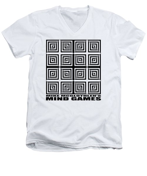 Men's V-Neck T-Shirt featuring the drawing Mind Games 28se by Mike McGlothlen