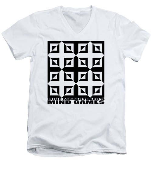 Men's V-Neck T-Shirt featuring the drawing Mind Games 37se by Mike McGlothlen