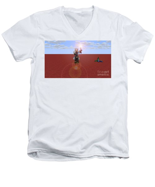 Men's V-Neck T-Shirt featuring the digital art Minecraft Knight by Brindha Naveen