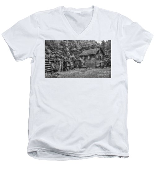 Men's V-Neck T-Shirt featuring the photograph Mingus Mill Black And White Mingus Creek Great Smoky Mountains Art by Reid Callaway