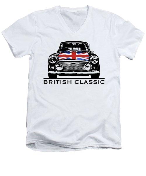 Mini British Classic Men's V-Neck T-Shirt by Thomas M Pikolin
