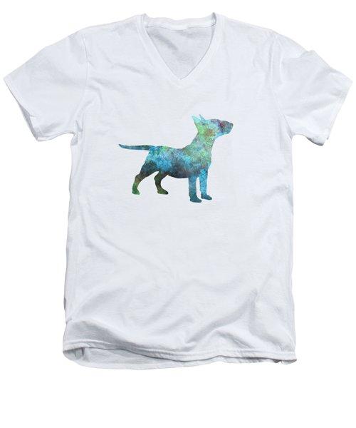Miniature Bull Terrier In Watercolor Men's V-Neck T-Shirt