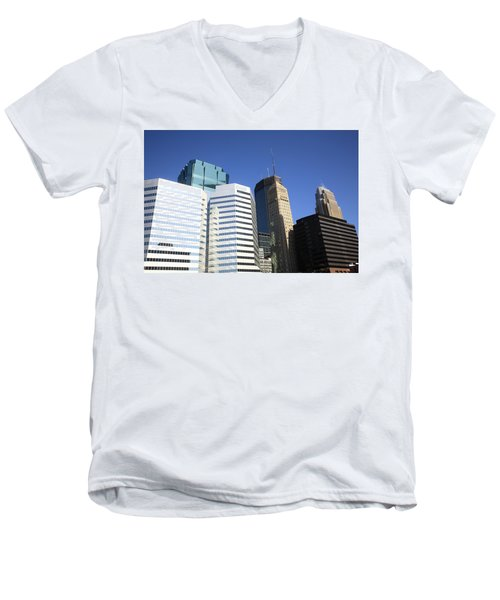 Men's V-Neck T-Shirt featuring the photograph Minneapolis Skyscrapers 11 by Frank Romeo