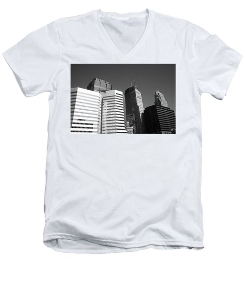 Men's V-Neck T-Shirt featuring the photograph Minneapolis Skyscrapers Bw 5 by Frank Romeo