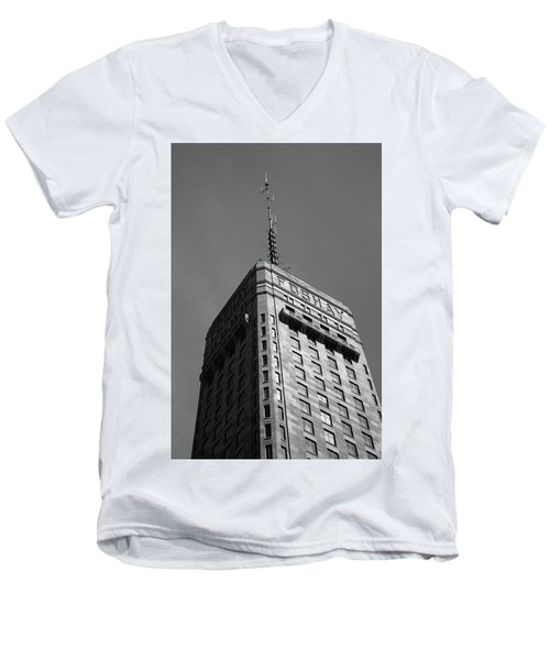 Men's V-Neck T-Shirt featuring the photograph Minneapolis Tower 6 Bw by Frank Romeo
