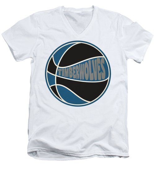 Men's V-Neck T-Shirt featuring the photograph Minnesota Timberwolves Retro Shirt by Joe Hamilton
