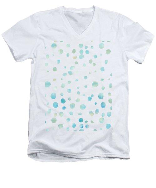 Mint Blue Watercolor Confetti Dots Men's V-Neck T-Shirt by P S