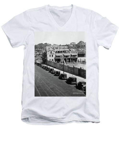 Men's V-Neck T-Shirt featuring the photograph Miramar Saltwater Pool by Cole Thompson