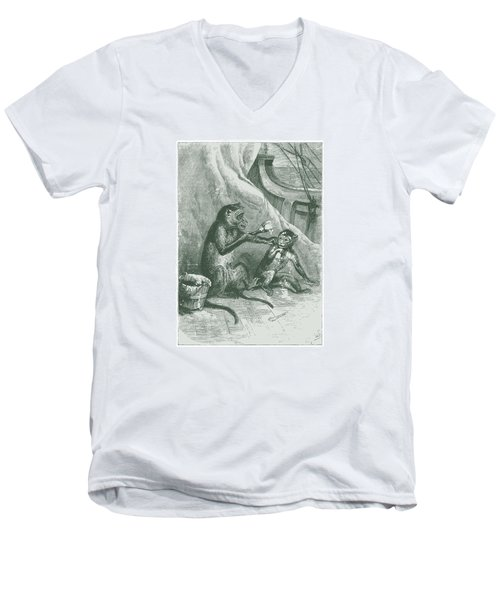 Men's V-Neck T-Shirt featuring the drawing Mischievous Monkey by David Davies