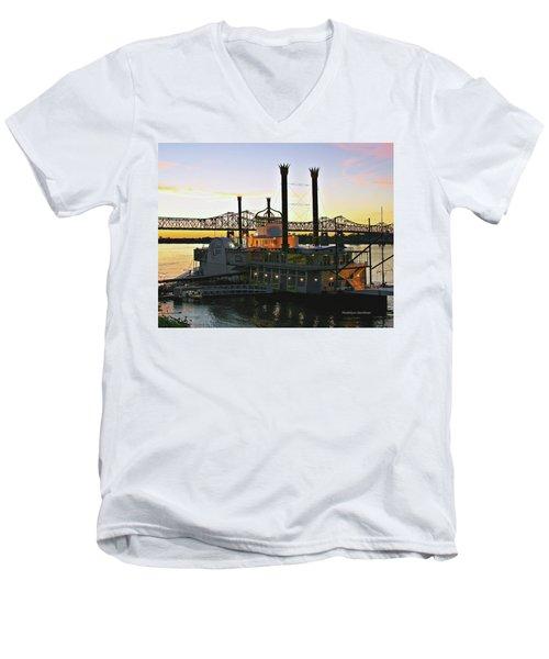 Mississippi Riverboat Sunset Men's V-Neck T-Shirt