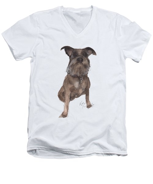 Missy Grace Ellen A Dog Men's V-Neck T-Shirt by Kathleen McElwaine