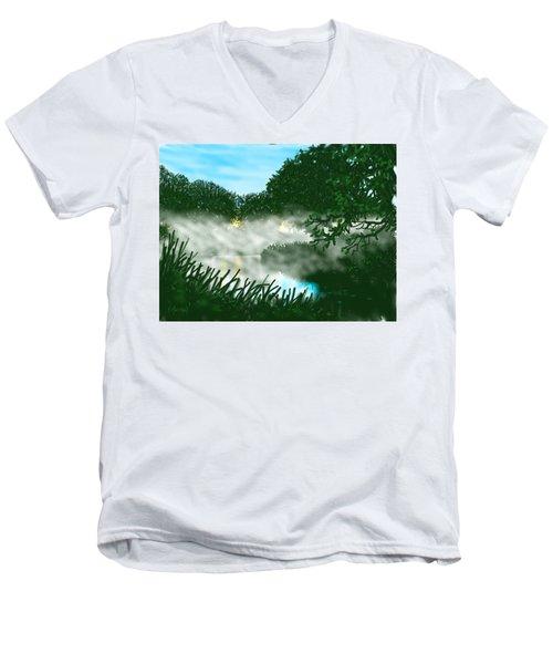 Mist On The River Ouse Men's V-Neck T-Shirt