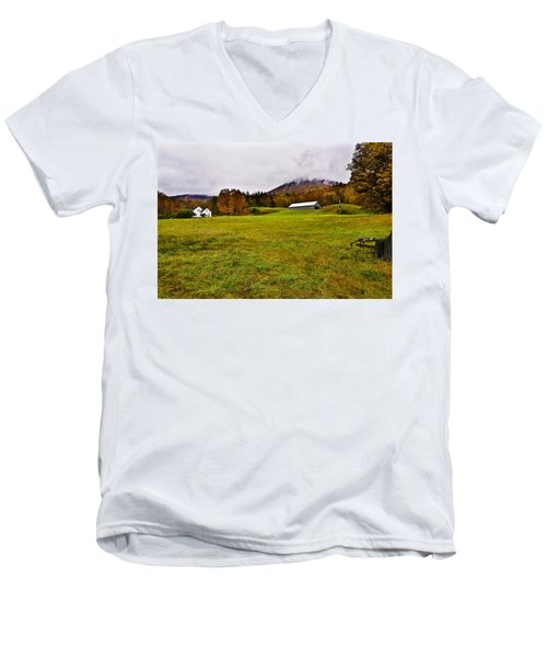 Misty Autumn At The Farm Men's V-Neck T-Shirt