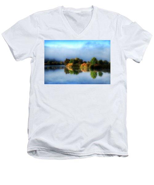 Misty Fall Colors On The River Men's V-Neck T-Shirt by Lynn Hopwood