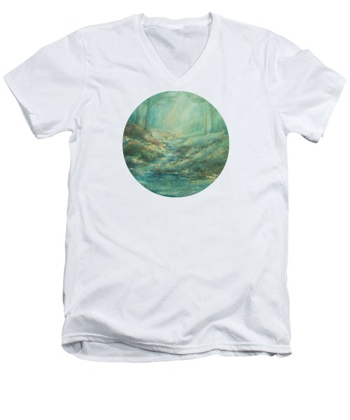 The Misty Forest Stream Men's V-Neck T-Shirt by Mary Wolf