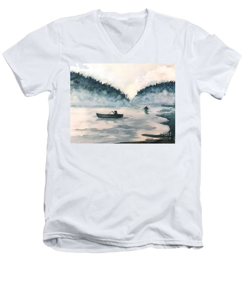 Misty Lake Men's V-Neck T-Shirt by Lucia Grilletto