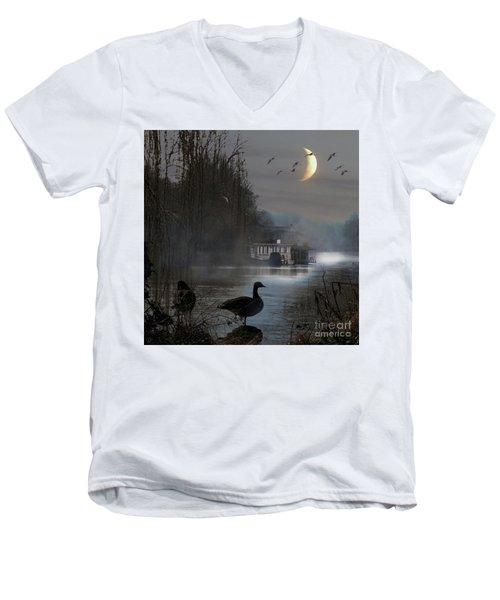 Misty Moonlight Men's V-Neck T-Shirt by LemonArt Photography