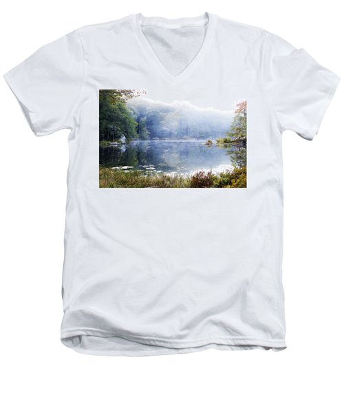 Misty Morning At John Burroughs #1 Men's V-Neck T-Shirt by Jeff Severson