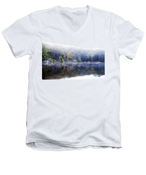 Men's V-Neck T-Shirt featuring the photograph Misty Morning At John Burroughs #2 by Jeff Severson